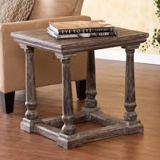 Southern Enterprises Marian End Table Weathered Gray Finish Rustic Style Crafted Of Quality Fir Wood 200