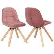 duhome 2er set esszimmerstuhl aus stoff samt polsterstuhl retro design in rosa pink