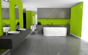 badezimmer mit modernem design und möbel in grün und schwarz 3d rendering