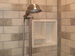 ceramic bathroom wall tile shower shelving regrouting taupe