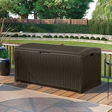 suncast 52 in 122 gallon resin wicker deck box hayneedle