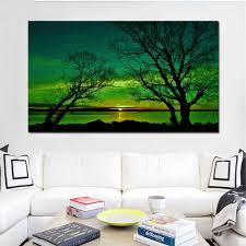 leinwand wand kunst bilder moderne gerahmte wohnzimmer hd print poster grün töne lakeside landschaft malerei modulare hause dekoration