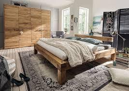 schlafzimmmer set 2teilig 140x200 rustikal wildeiche massiv geölt casade mobila