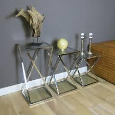 details zu glastisch set 3er tisch glas quadrat modern beistelltisch wohnzimmer interieur