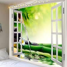 fenster bambus fließendes wasser gedruckt wandbehang tapisserie