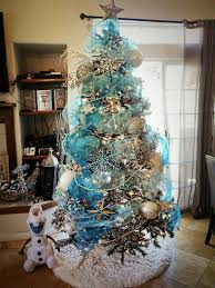 Blue Deco Mesh Frozen Winter Wonderland Themed Tree