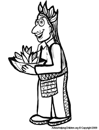 Thanksgiving Native American Indian Coloring Pages Printouts