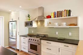 glass subway tile kitchen