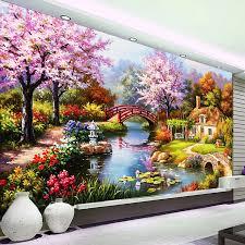 europäischen schöne landschaft blossom blumen landschaft ölen malerei wandbild für wohnzimmer wand kunst dekor 3d relief tapete