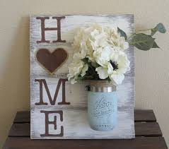 Mason Jar Wood Wall Hanging Home Sign Decor Distressed Hand Painted