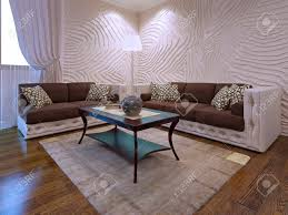 elegantes wohnzimmer möbel set zwei braune sofas mit lederteilen mahagoni holztisch 3d render