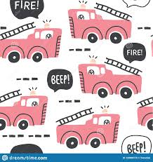 100 Pink Fire Truck Toy Seamless Pattern In Scandinavian Style Stock Vector