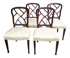 1980s Vintage Kindel Mahogany Hepplewhite Dining Chairs - Set Of 4 4 Hepplewhite Style Mahogany Yellow Floral Upholstered Ding Chairs Style Ding Table And Chairs Pair George Iii Mahogany Armchairs Antique Set Of 8 English Georgian 12 19th Century Elegant Mellow Edwardian Design Antiques World 79 Off Wood Hogan Side Chair Eight Late 18th Of