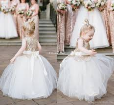 Lovely Ball Gown Wedding Flower Girl Dresses Sparkly Rose Gold Sequins Sash Floor Length 2016 Cheap Girls Pageant Dress Baby Communion Gowns For