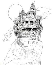Spooky Scary Haunted House Coloring Page Halloween