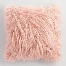 Blush Mongolian Faux Fur Throw Pillow