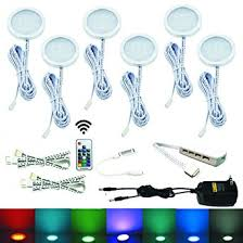 aiboo rgb color changing led cabinet lights kit 6 packs of
