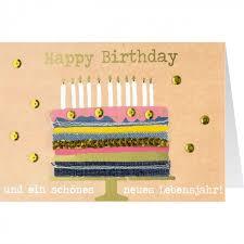 gruss und co jeanskarte geburtstag torte happy birthday