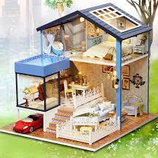 Handmade 3d Wooden Miniatures Doll House Pink Cafe Dollhouse