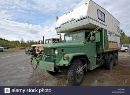 Army Truck Converted To Camper Truck. Alaska. USA Stock Photo ...