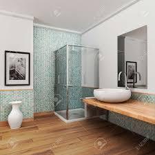 großes badezimmer mit holzboden und vintage mosaik hellblau und grün