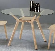 details zu glastisch rund 120cm massivholz esstisch küchentisch glasplatte hevea holz