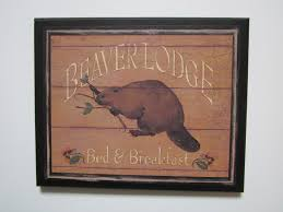 Beaver Lodge Picture Rustic Style Wall Decor Plaque Country