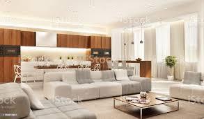 moderne küche und großes wohnzimmer stockfoto und mehr bilder architektur