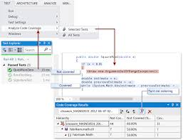 Code Coverage Results With Coloring Requirements Visual Studio Enterprise