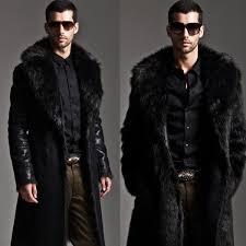 men furry faux fur coat long jacket outerwear winter warm luxury