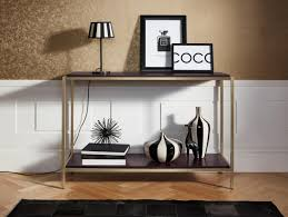 leonique konsolentisch cherlen mit zwei ablageflächen und goldfarbenem metallgestell