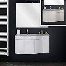 bagno italia badezimmer möbel 2 farben taupe oder weiß 80 cm zum aufhängen mit waschbecken aus kristall spiegelschrank inklusive