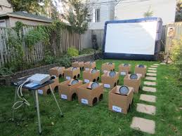 Backyard Drive-in Movie Party. Kids Decorated Their