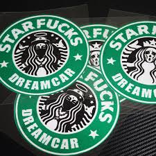 2pcs Style Starbucks Sticker Waterproof Stickers Notebook Luggage Cars Motorcycle Applique Free Shipping