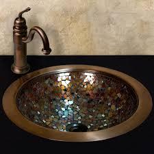 Undermount Bar Sink Oil Rubbed Bronze by Warren Glass Mosaic Copper Sink Drain Finish In Oil Rubbed Bronze