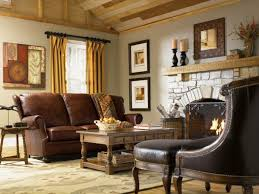 Impressive Country Style Living Room Furniture Leather Sofa Fireplace Rustic