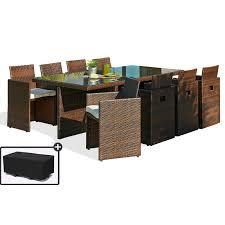 housse de protection pour canapé de jardin salon de jardin 8 places avec dossiers chocolat et housse de