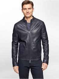 calvin klein premium slim fit leather moto jacket in blue for men