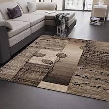 vimoda moderner wohnzimmer teppich naturfarben beige braun mit blumen und pflanzen muster maße 160x230 cm