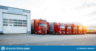 100 Storage Trucks Red In Row Near In Sunset Stock Image Image Of