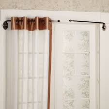 decor black target curtain rods with red and white curtains plus