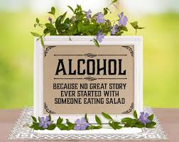 Wedding Bar Decor Alcohol Because No Great Story Sign Rustic Bachelorette Shower Party Supplies