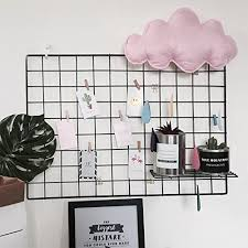 Kleanner Metal Wire Mesh Grid Panel Memo Board Wall Art Display Hanging Organizer Pack Of 2 Pcs Size256 X 177 Black Picture Hangers