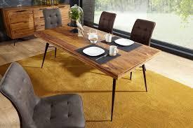 esszimmertisch wl5 581 holz 200x77x100 cm sheesham massiv esszimmertisch massivholz mit design metall beinen holztisch tisch esszimmer
