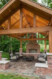 Diy Wood Patio Cover Kits by Outdoor Pavilion Wood Burning Fireplace Jonathan Stanton