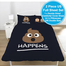 EMOJI MR POO DOUBLE DUVET COVER SET BLACK REVERSIBLE KIDS TEENAGER