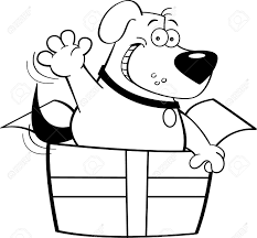 Black And White Illustration Of A Dog Inside Gift Box Royalty Rh 123rf Com Crayon Clipart
