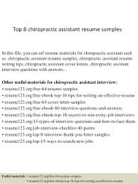 top 8 chiropractic assistant resume sles 1 638 jpg cb 1427857762