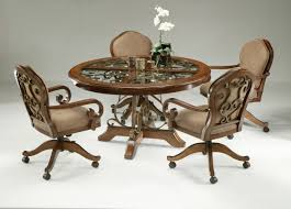 Dining Table And Chairs With Casters Kitchen Chair On Swivel Game