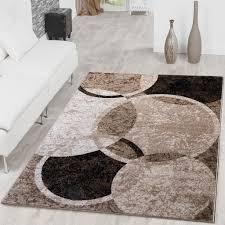 teppich kreis design modern wohnzimmerteppich braun beige schwarz meliert größe 240x340 cm